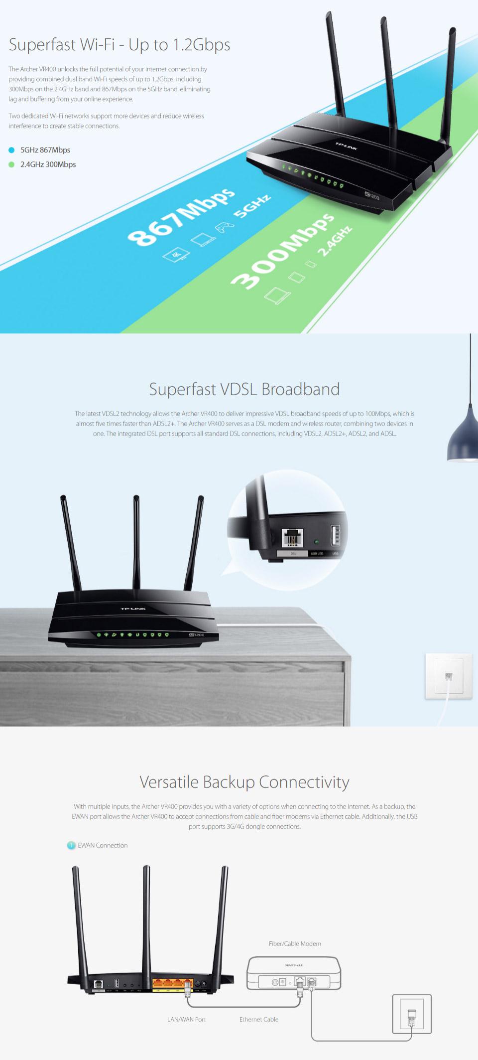 TP-Link Archer VR400 AC1200 Wireless VDSL / ADSL Modem Router [TD ...