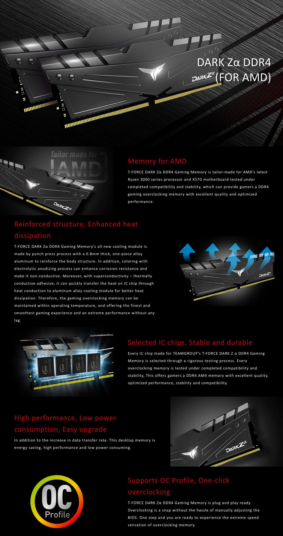 Team T-Force Dark Za 16GB (2x8GB) 3600MHz CL18 DDR4 Black features