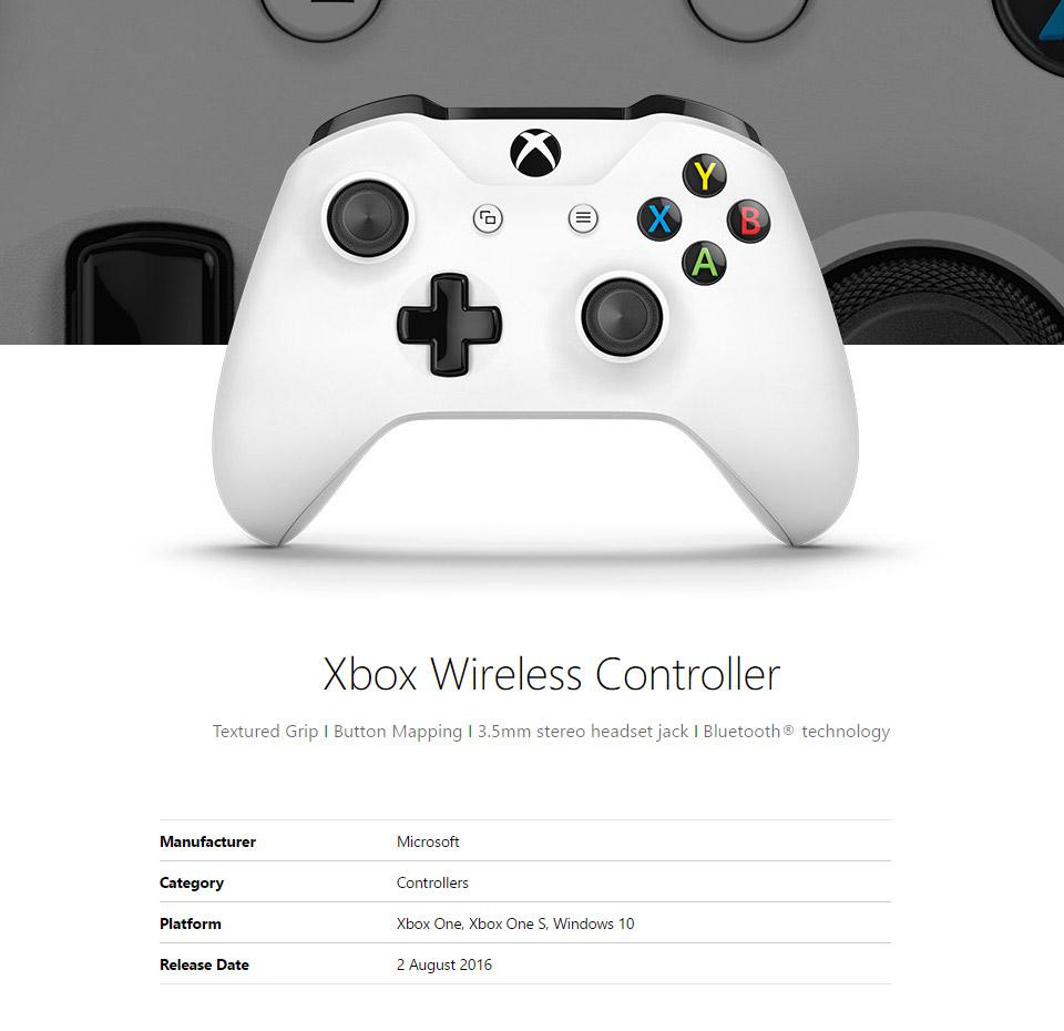 Microsoft Xbox One Wireless Controller For Windows White