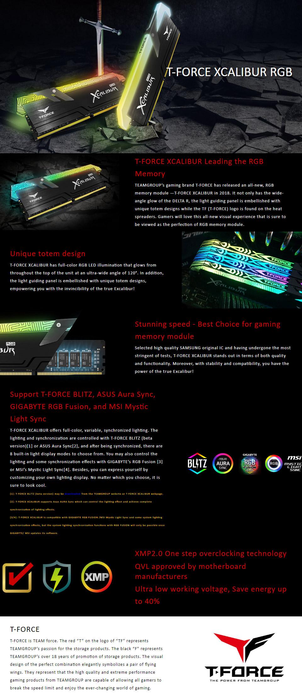 Team T-Force Xcalibur RGB 3600MHz 16GB (2x8GB) DDR4 Black