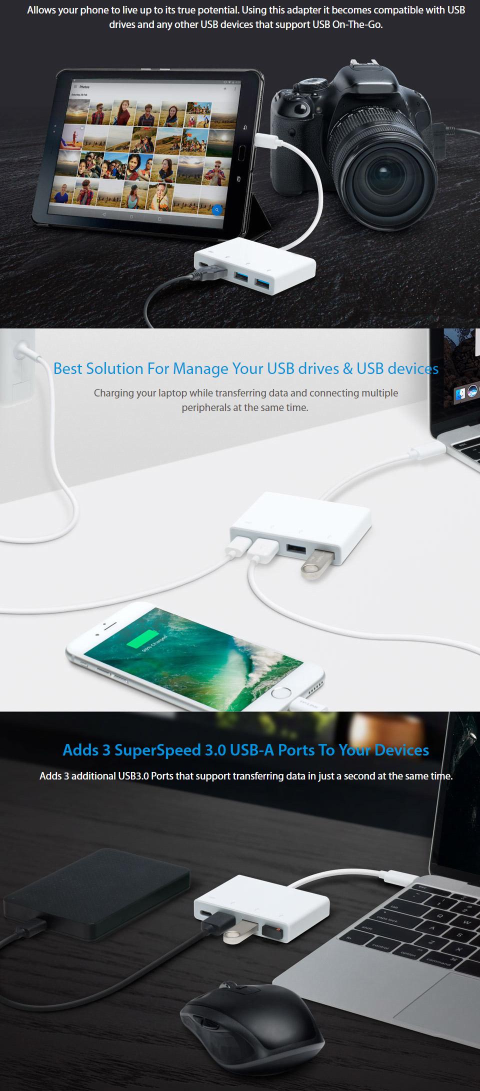 TP-Link UC430 Ultra Compact 3 0 USB-C 4-Port Hub [TL-UC430