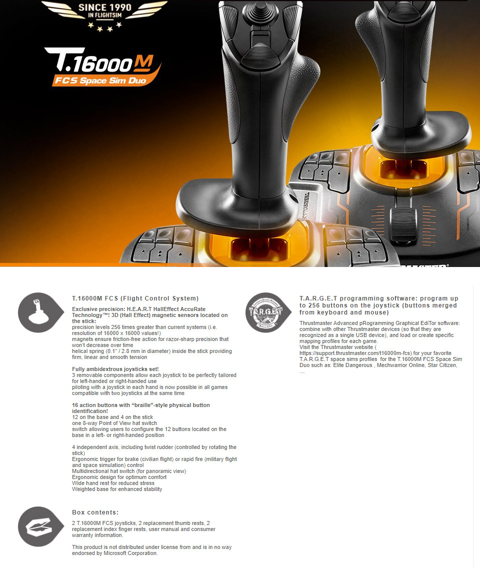 Thrustmaster Dual T 16000M FCS Joystick Space Sim Pack For PC