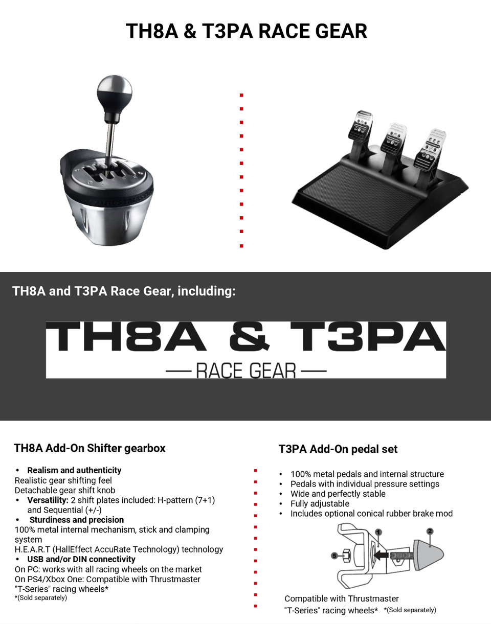 Thrustmaster TH8A /T3PA Race Gear features