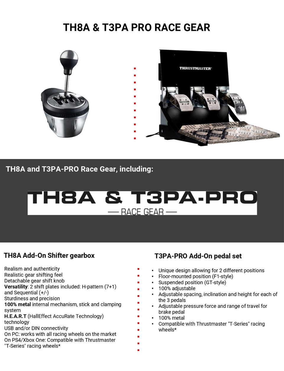 Thrustmaster TH8A/T3PA Pro Race Gear Bundle features