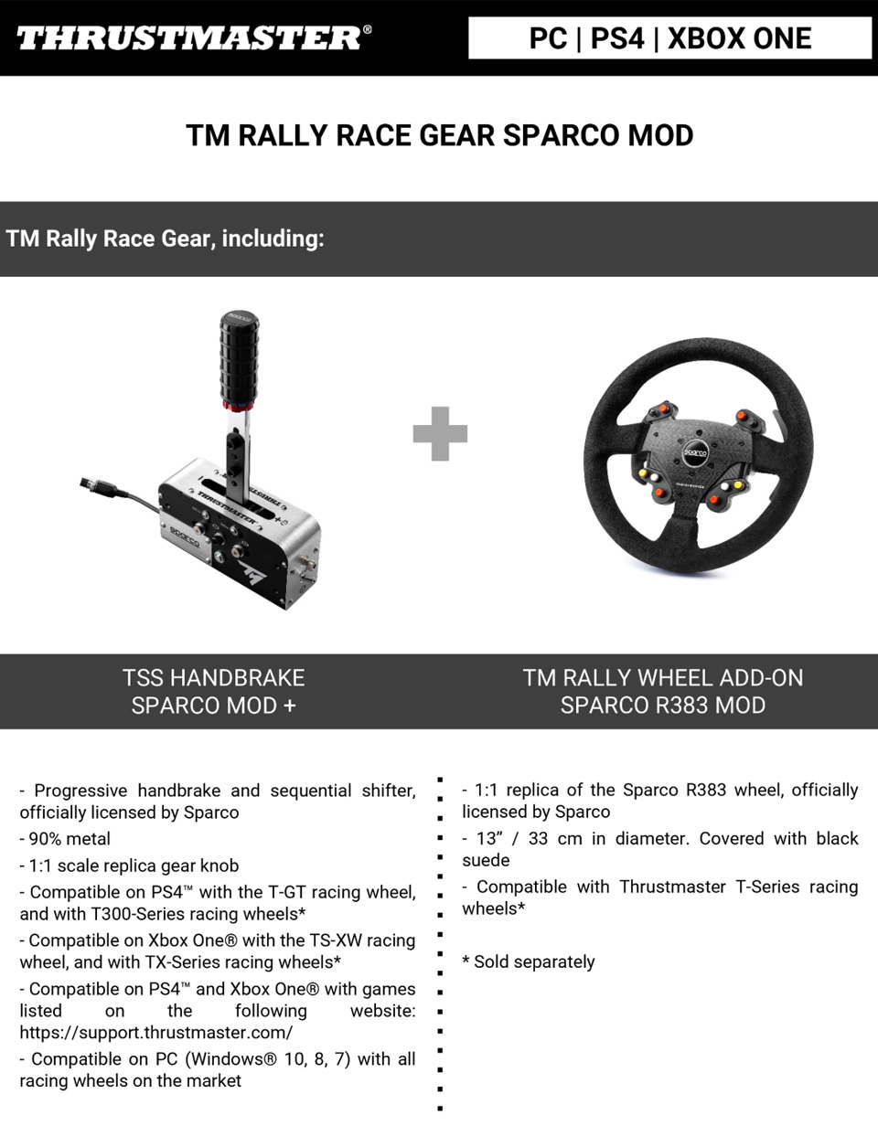 Thrustmaster Rally Race Gear Sparco MOD features