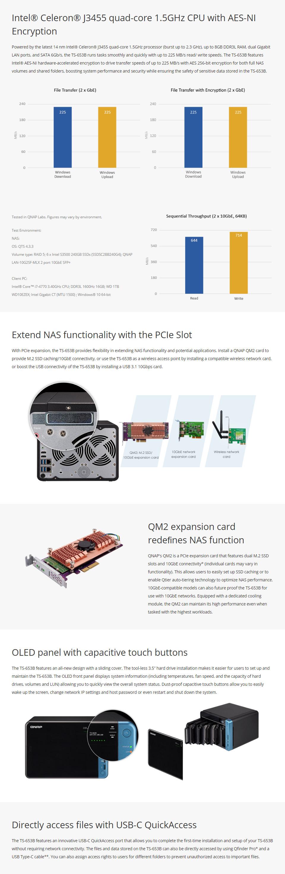 QNAP TS-653B 6 Bay NAS with 4GB RAM [TS-653B-4G] : PC Case Gear