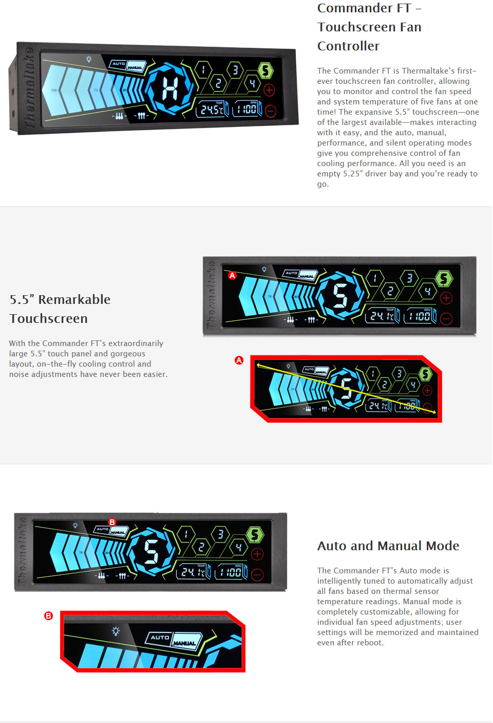Thermaltake commander ft touchscreen fan controller tt ac 010 it has an expansive 55in display with auto manual performance and silent modes for comprehensive control of cooling performance publicscrutiny Choice Image