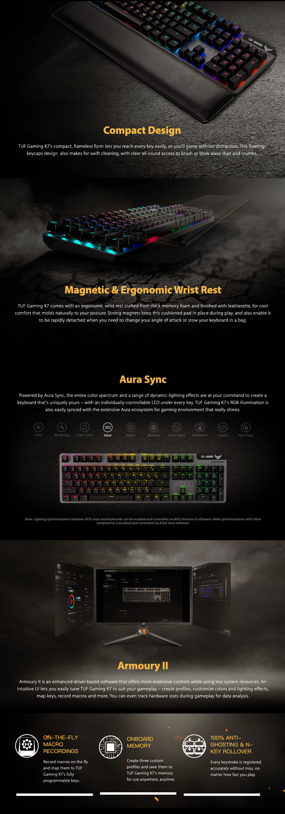 ASUS TUF K7 Optical-Mech RGB Keyboard Linear Switch features