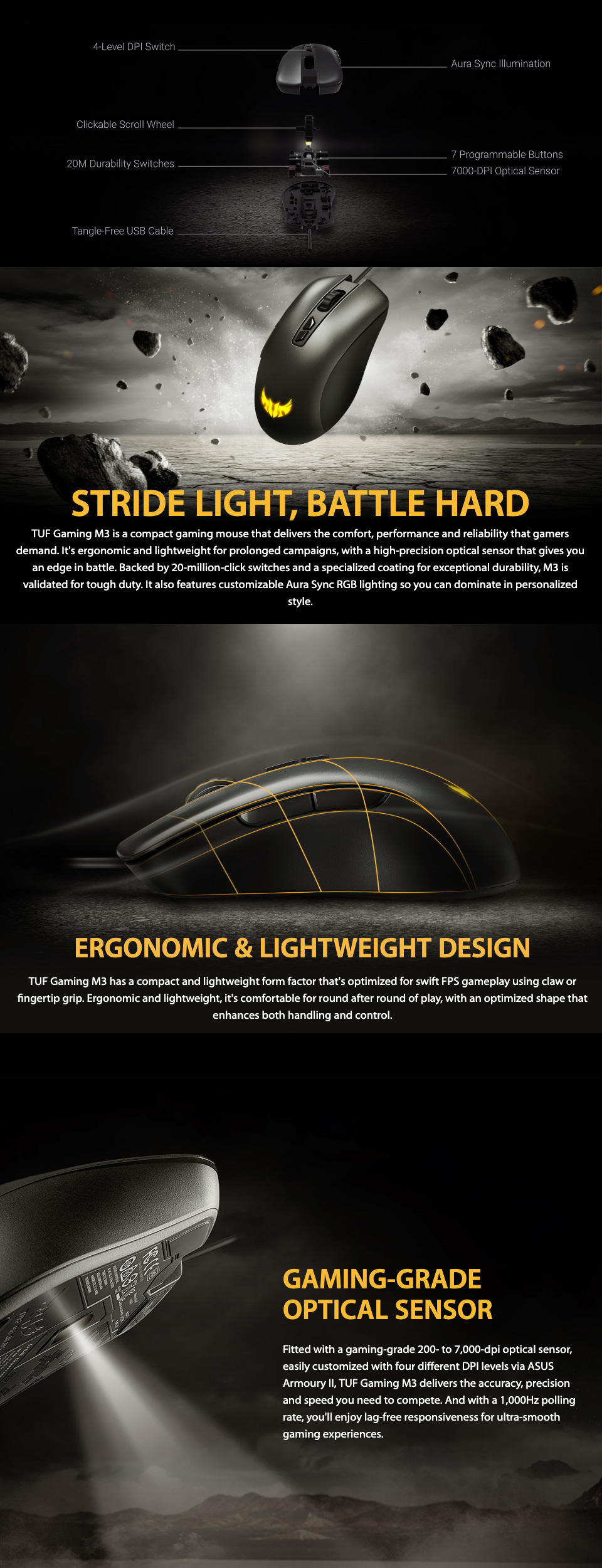 ASUS TUF M3 RGB Gaming Mouse features