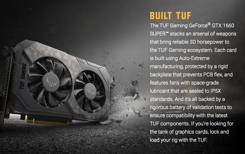 ASUS GeForce GTX 1660 Super TUF Gaming OC 6GB features