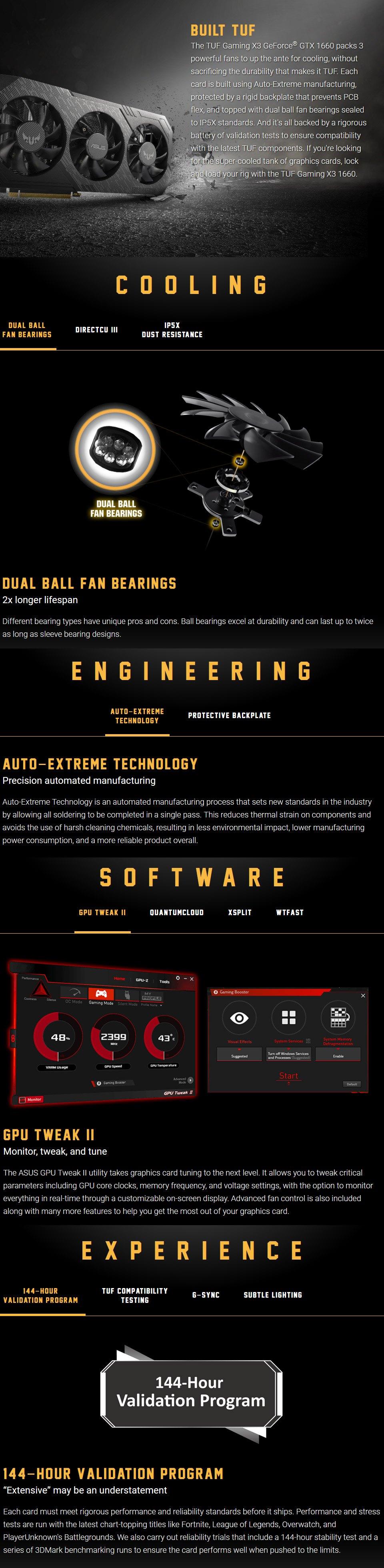 ASUS GeForce GTX 1660 TUF Gaming X3 6GB features