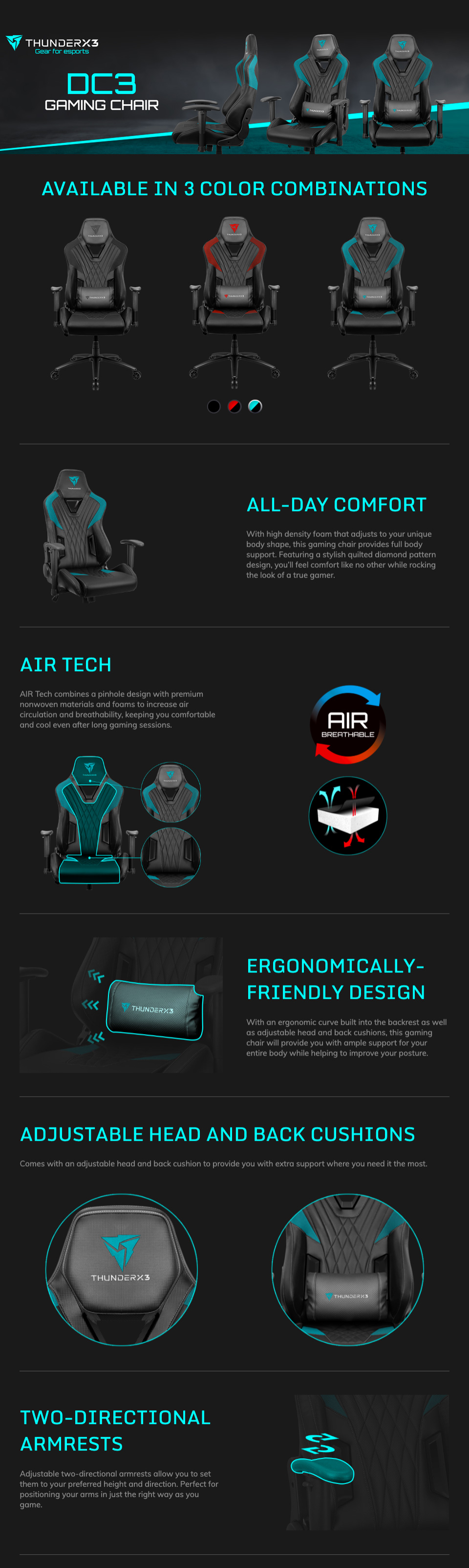 Aerocool ThunderX3 DC3 Gaming Chair Black features