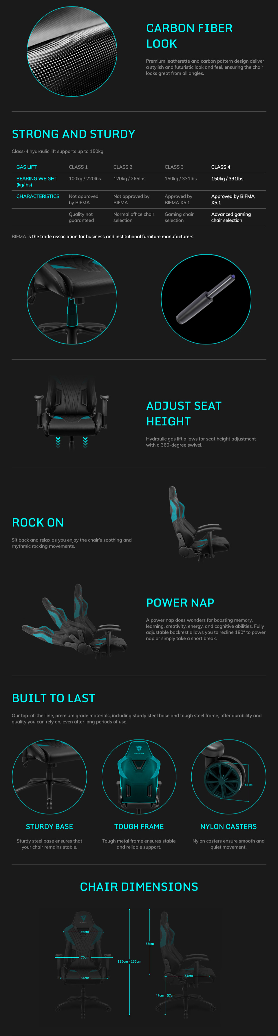 Aerocool ThunderX3 DC3 Gaming Chair Black Red features 2