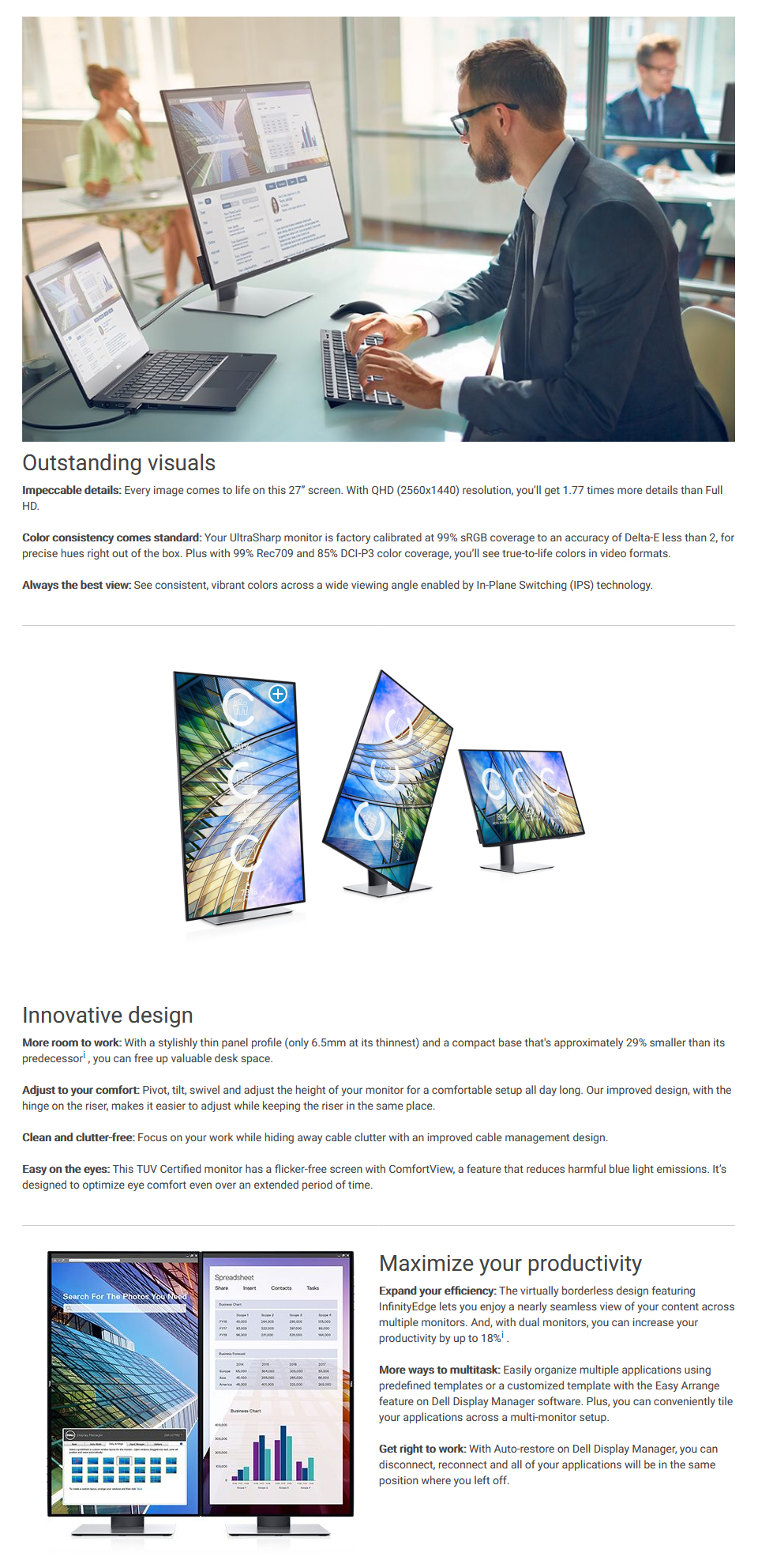 Dell UltraSharp U2719D QHD IPS 27in Monitor features