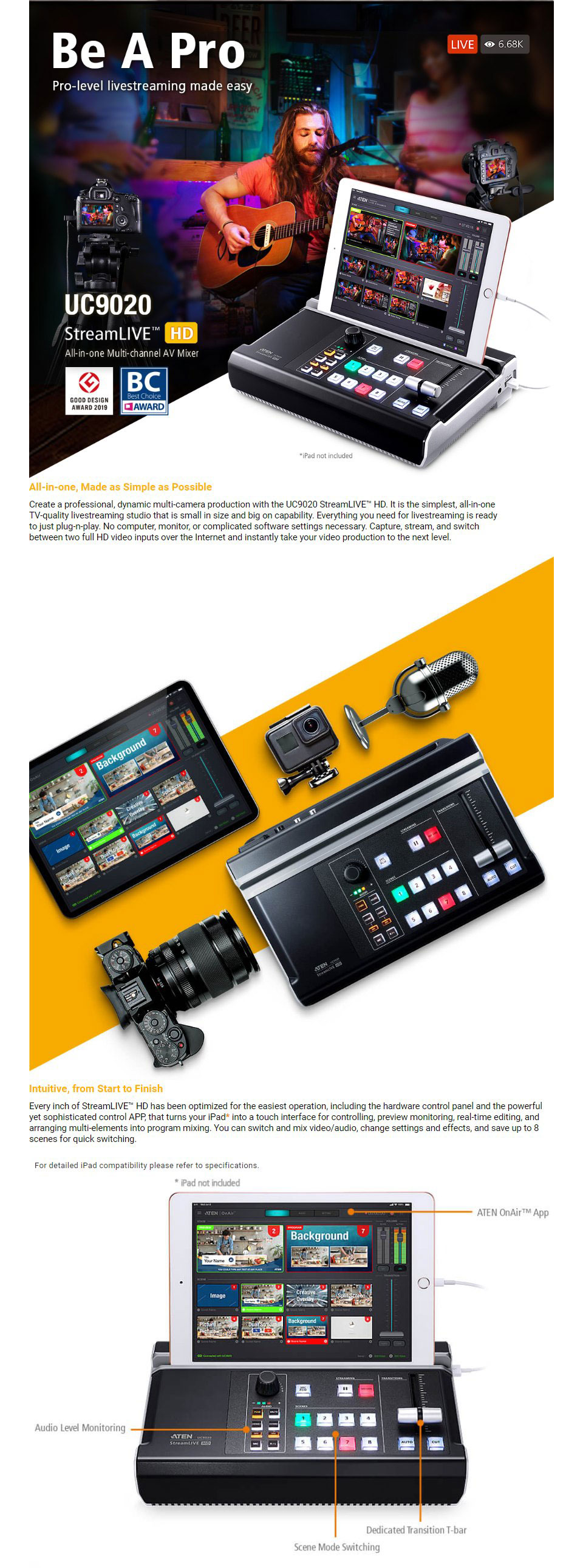 ATEN UC9020 StreamLive HD All-In-One Multi-channel AV Mixer features