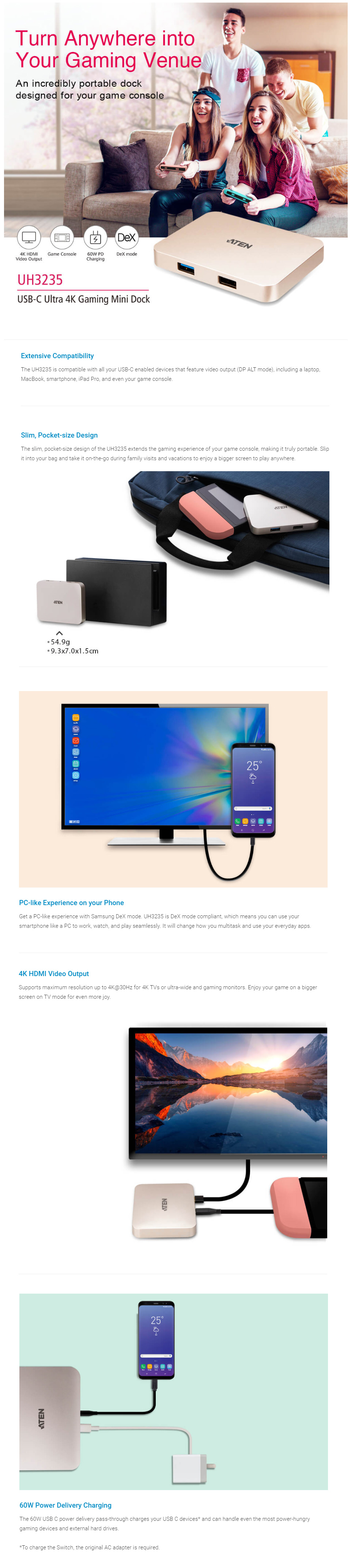 Aten USB-C 4K Ultra Mini Dock with Power Pass-through features