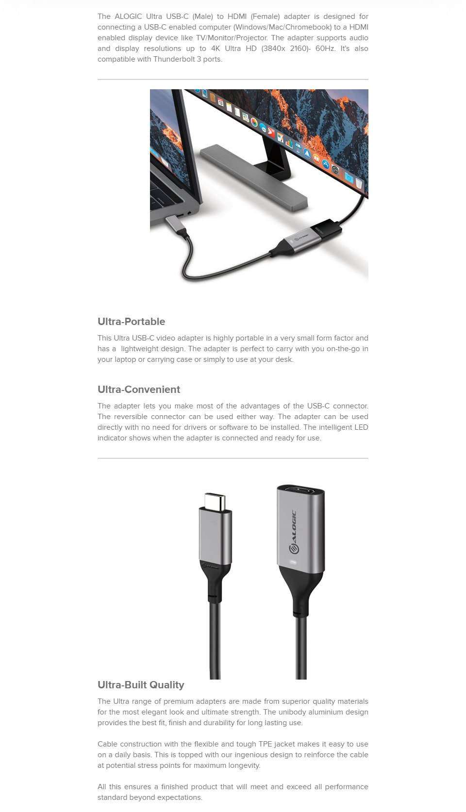 Alogic USB-C to HDMI Adapter 4K60 features