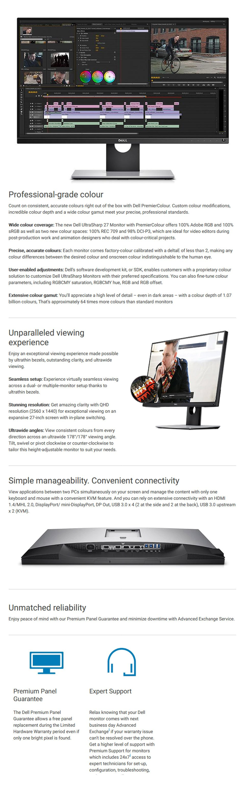 Dell UltraSharp UP2716D QHD IPS 27in Monitor with PremierColor features