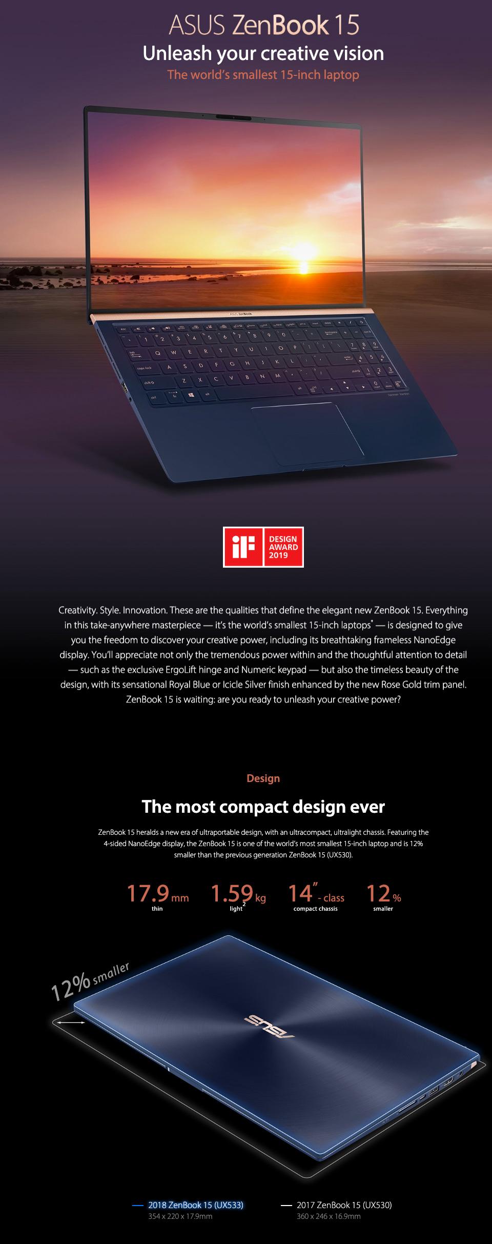 ASUS ZenBook Core i7-8565U GTX 1050 FHD 15.6in Laptop features 1