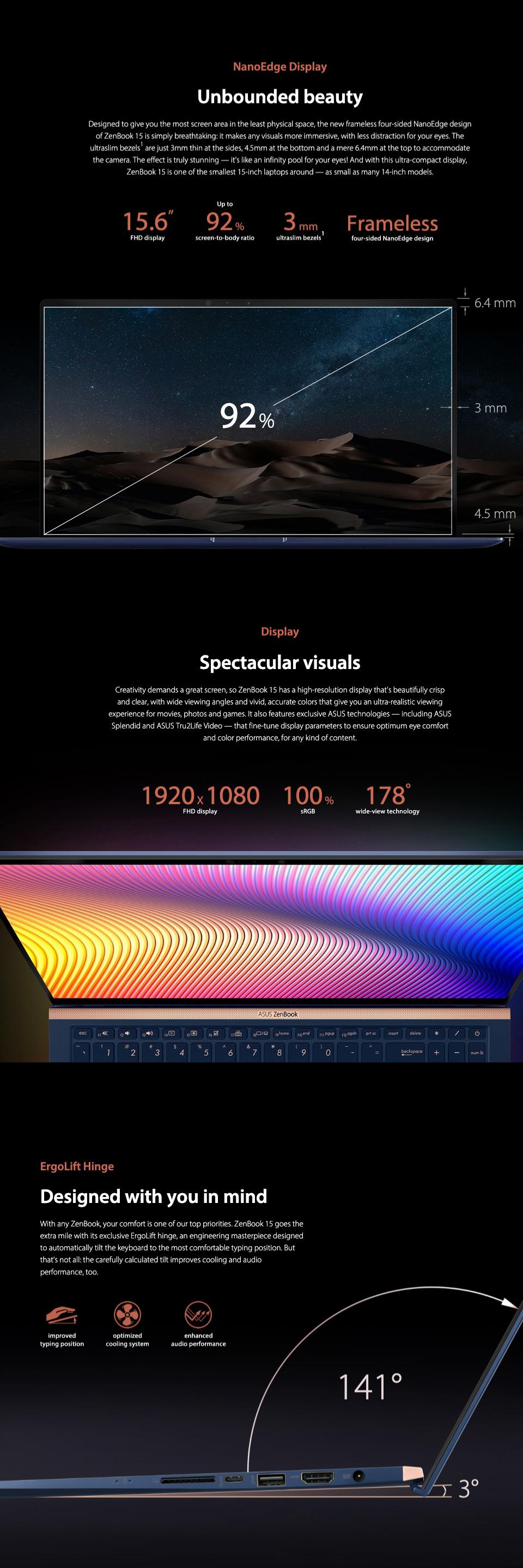 ASUS ZenBook Core i7-8565U GTX 1050 FHD 15.6in Laptop features 2