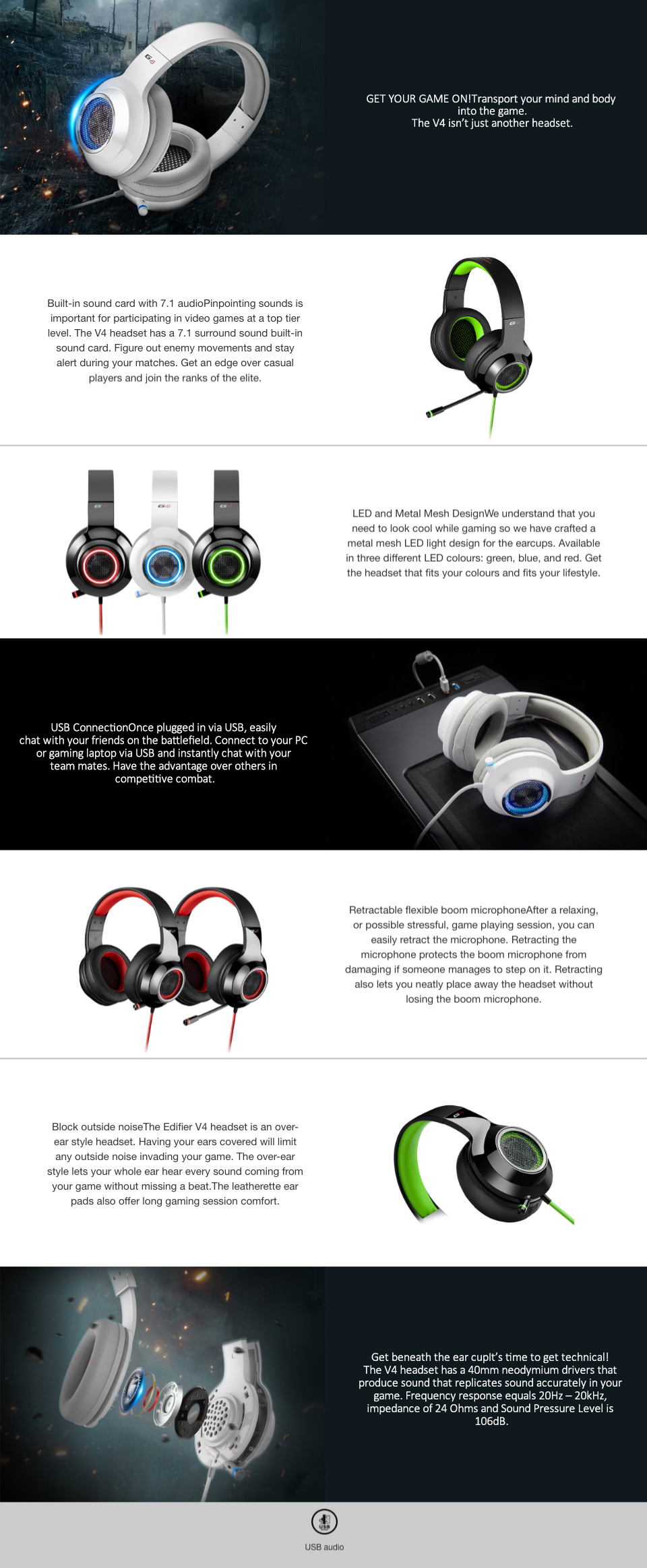 Edifier V4 (G4) 7.1 Virtual Surround Sound Gaming Headset White features