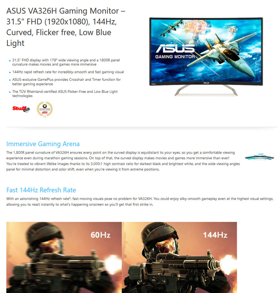 ASUS VA326H FHD 144hz Curved 32in Monitor (Open Box) [EXD