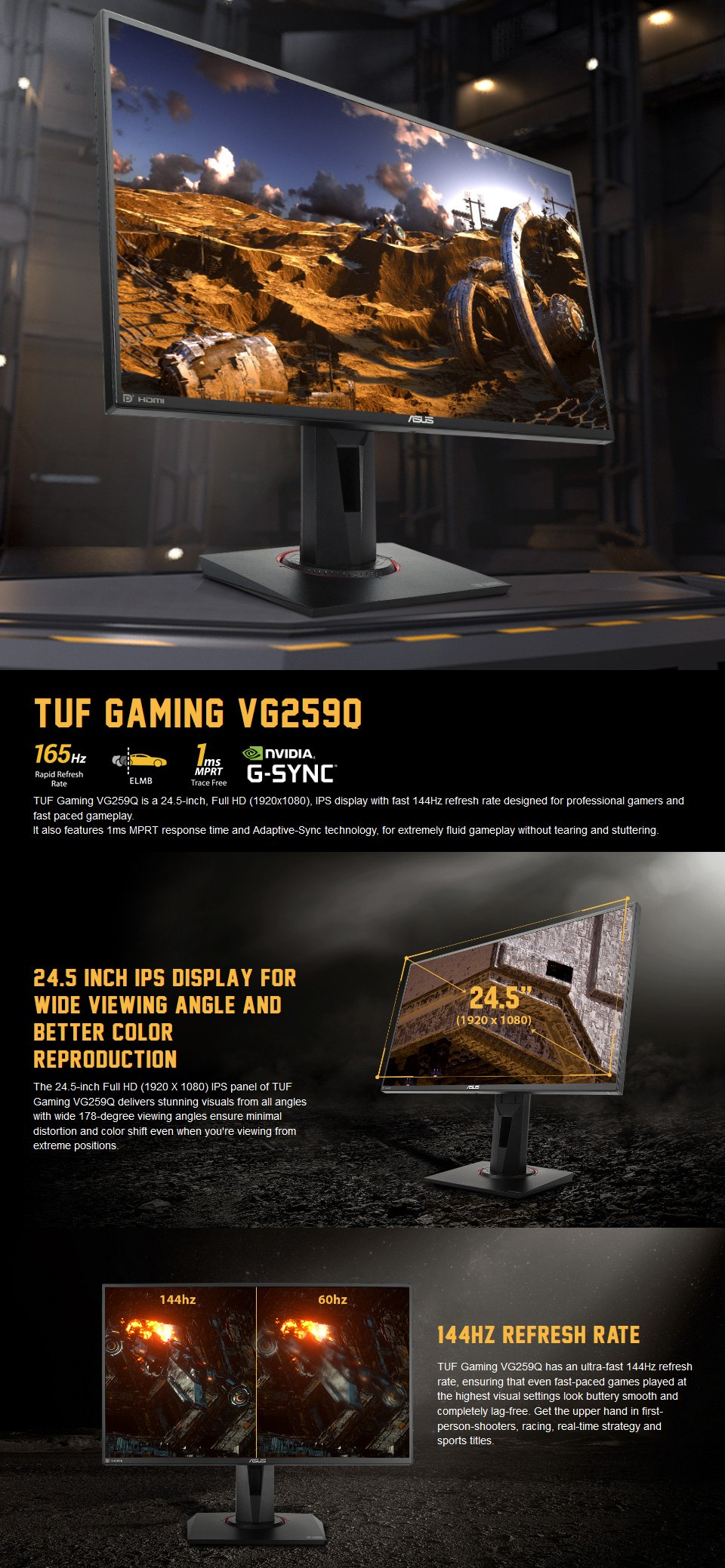 ASUS TUF VG259Q FHD 144hz FreeSync IPS 25in Monitor features