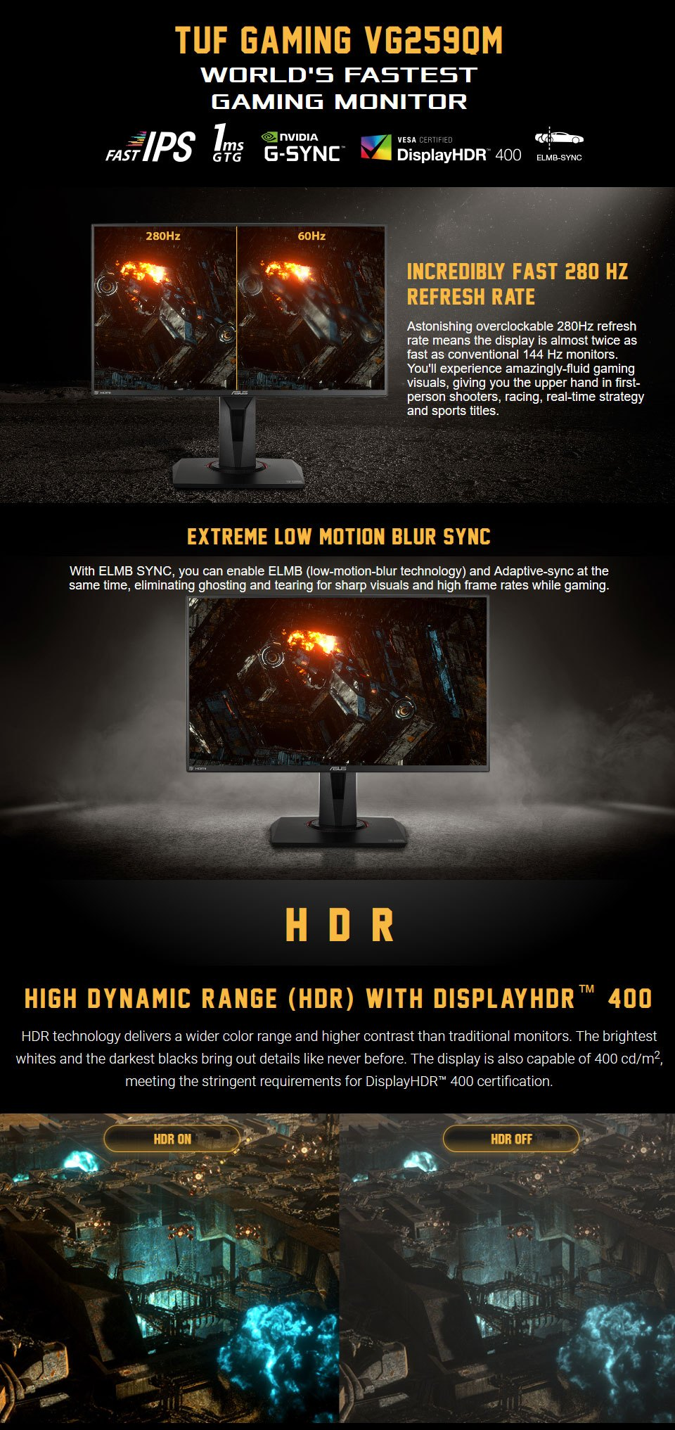 ASUS TUF VG259QM FHD 240Hz+ FreeSync HDR IPS 24.5in Monitor features