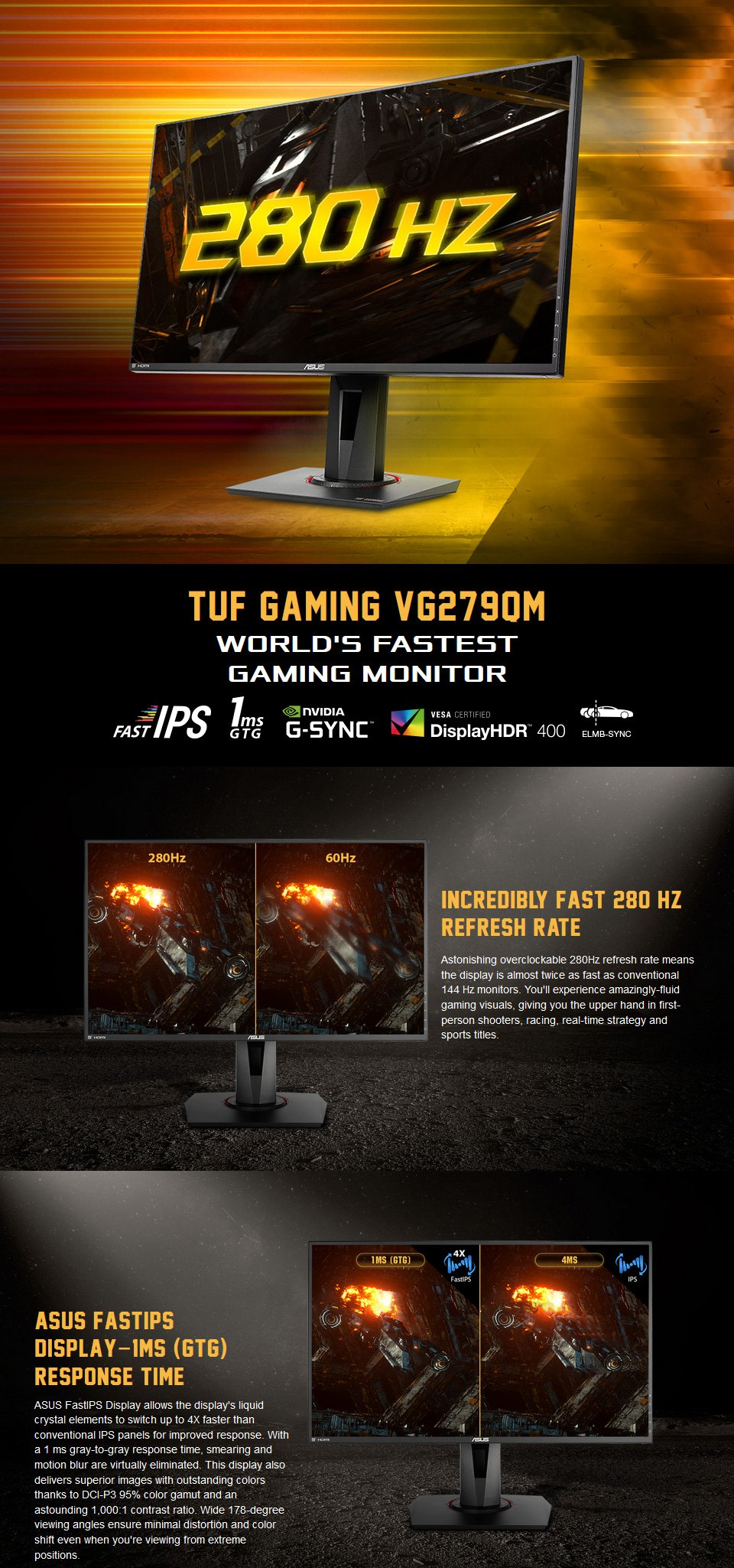 Asus TUF VG279QM FHD 280Hz G-Sync HDR 27in Monitor features
