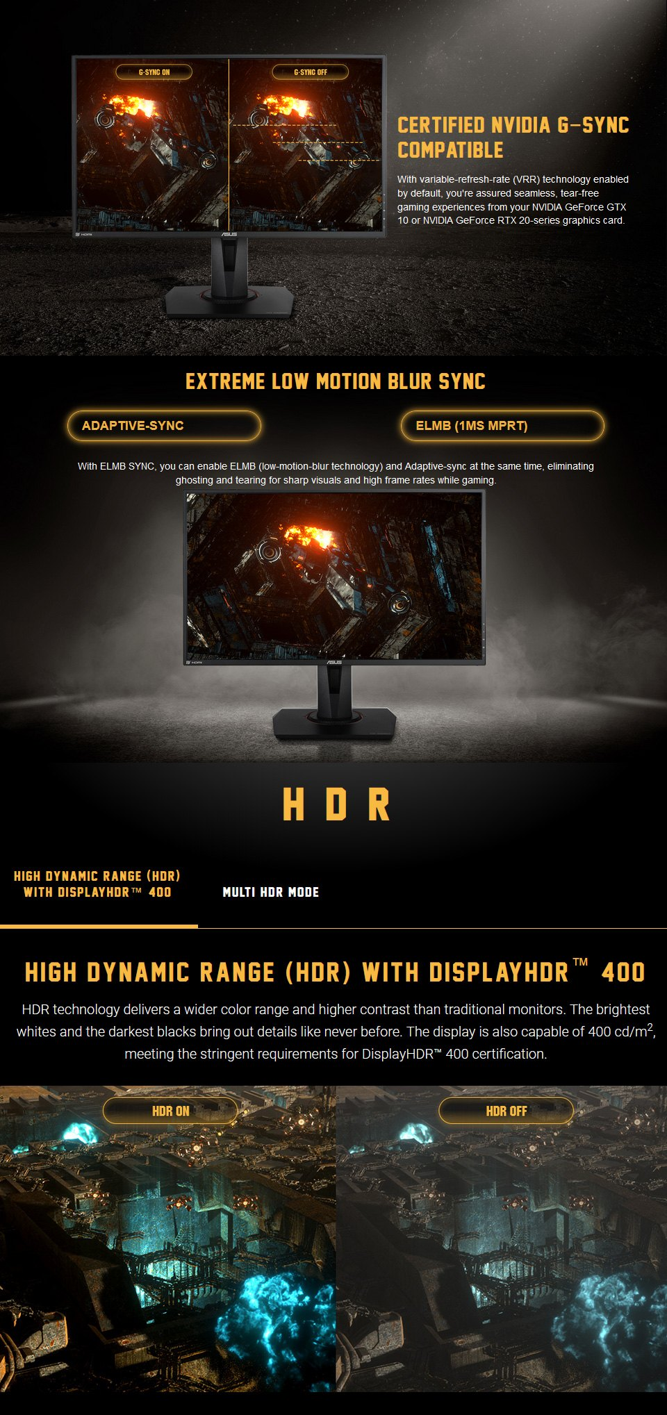 Asus TUF VG279QM FHD 280Hz G-Sync HDR 27in Monitor features 2