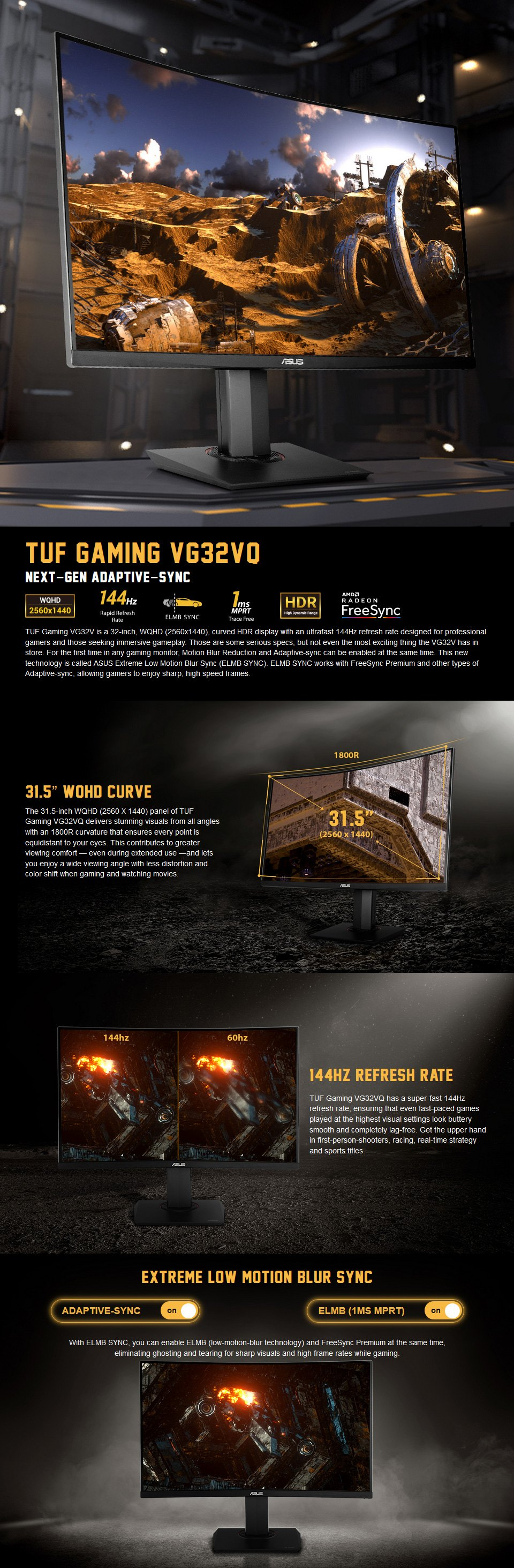 ASUS TUF VG32VQ 144hz Adaptive-Sync Curved 31.5in Monitor features