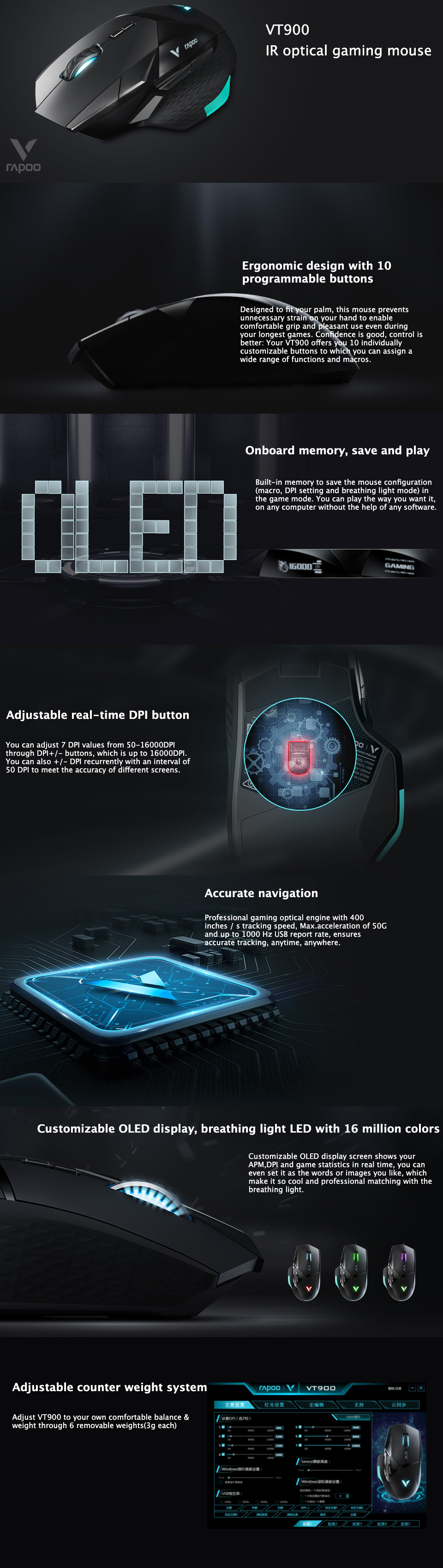 Rapoo VT900 IR Optical Gaming Mouse features/specifications