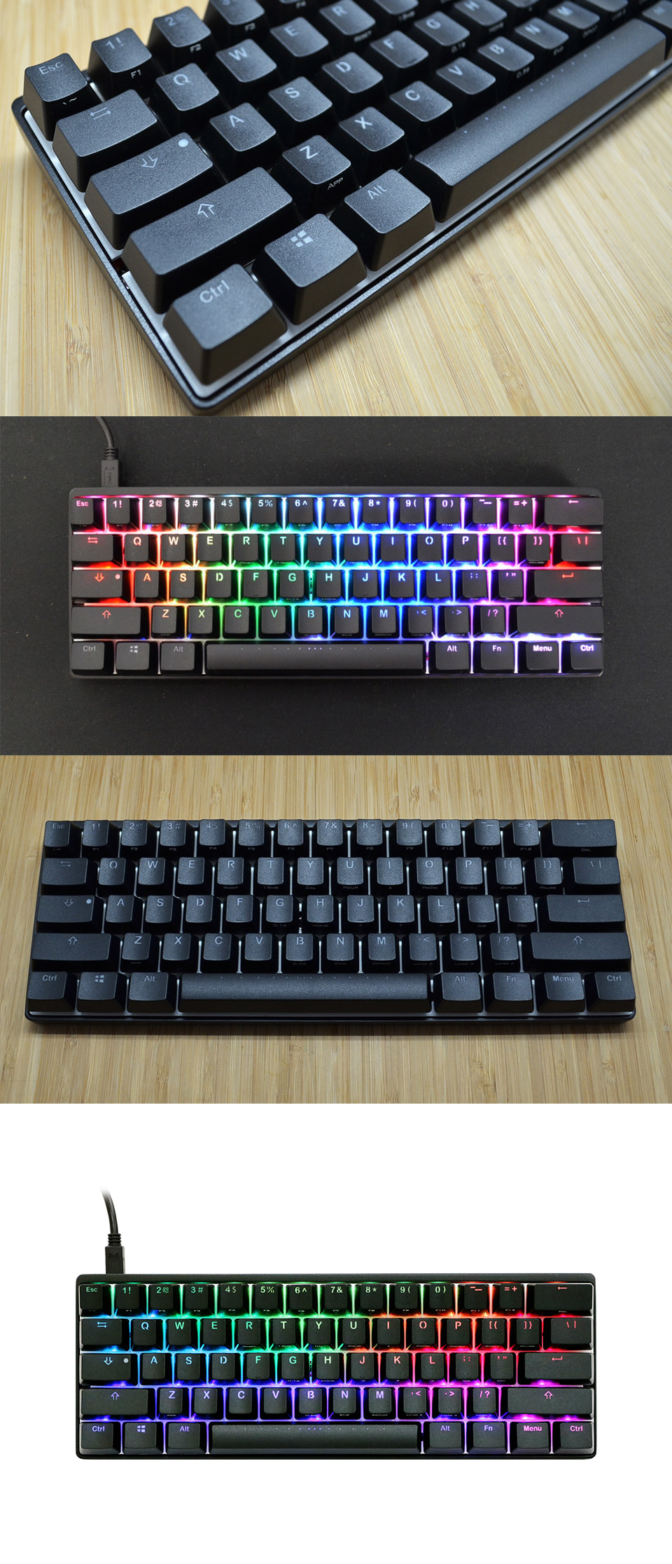 Vortex RGB POK3R Black Keyboard MX Nature White