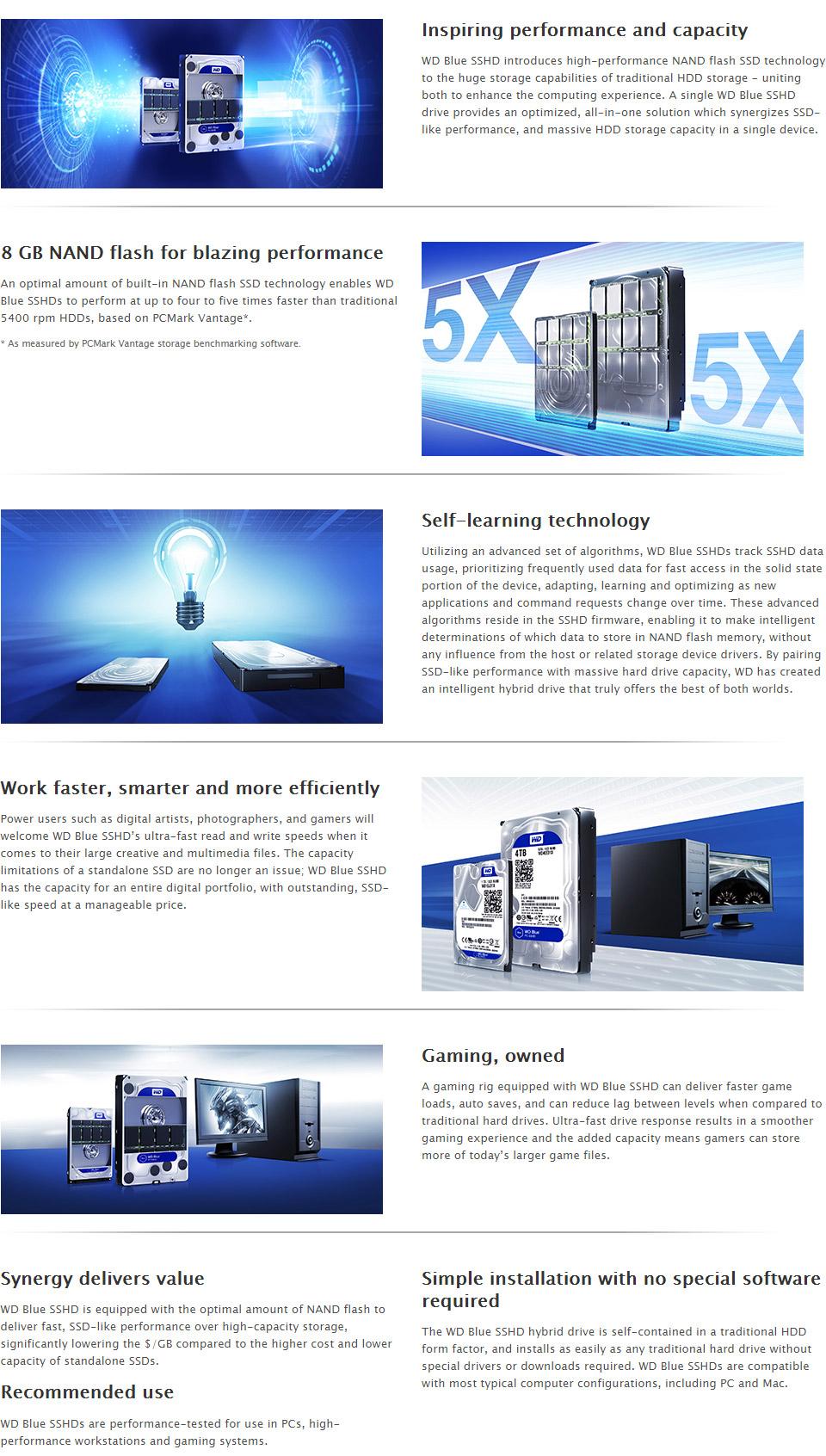 Western Digital WD Blue 4TB SSHD WD40E31X [WD40E31X] : PC