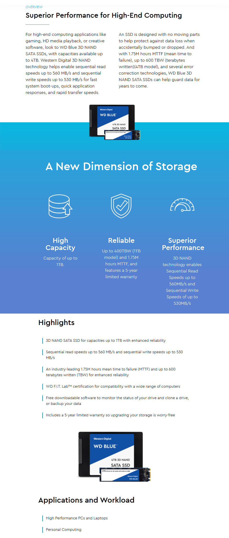 Western Digital Blue M.2 SATA SSD 1TB features