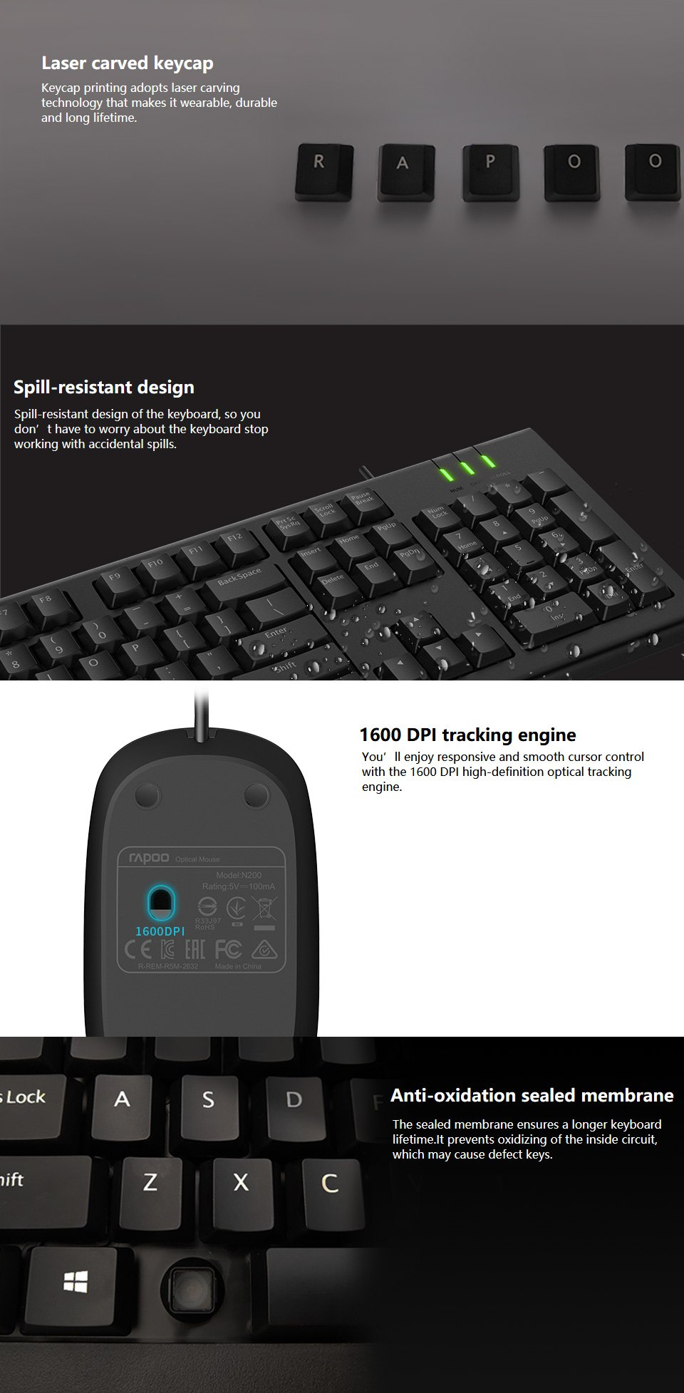 Rapoo X120 Pro Keyboard and Mouse Combo features