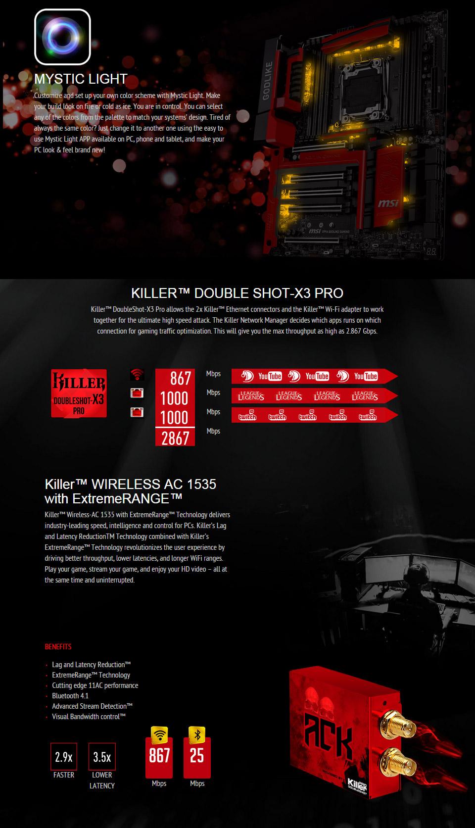 MSI X99A GODLIKE Gaming RGB Motherboard [X99A-GODLIKE-GAMING] : PC