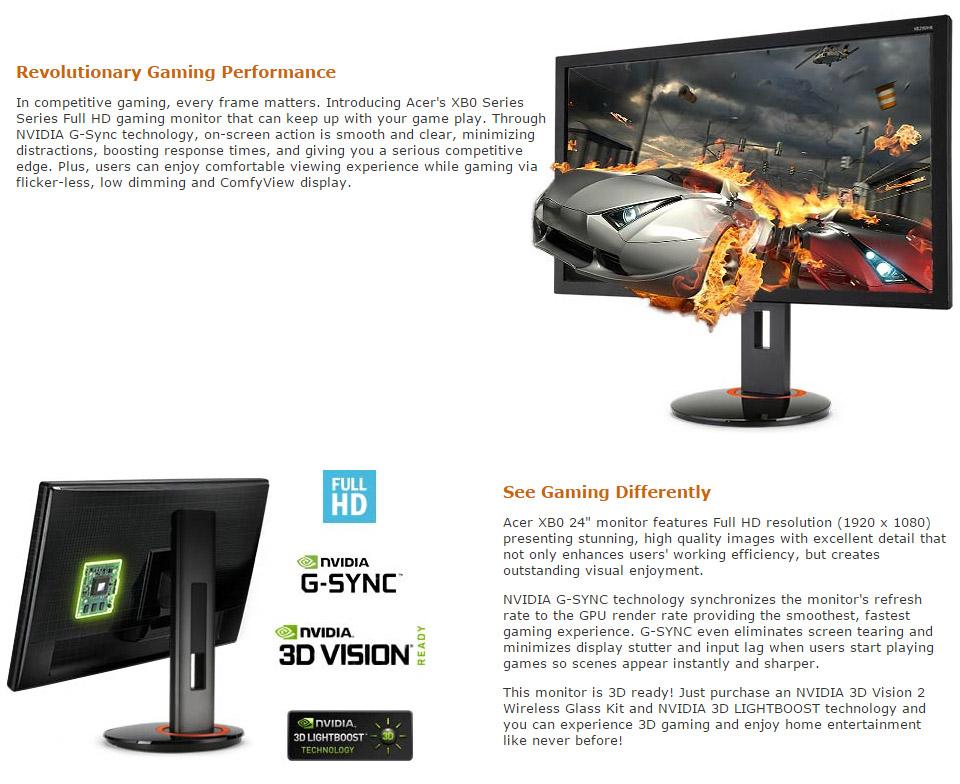 New Acer Predator Xb240h 24in 144hz G Sync Gaming Monitor