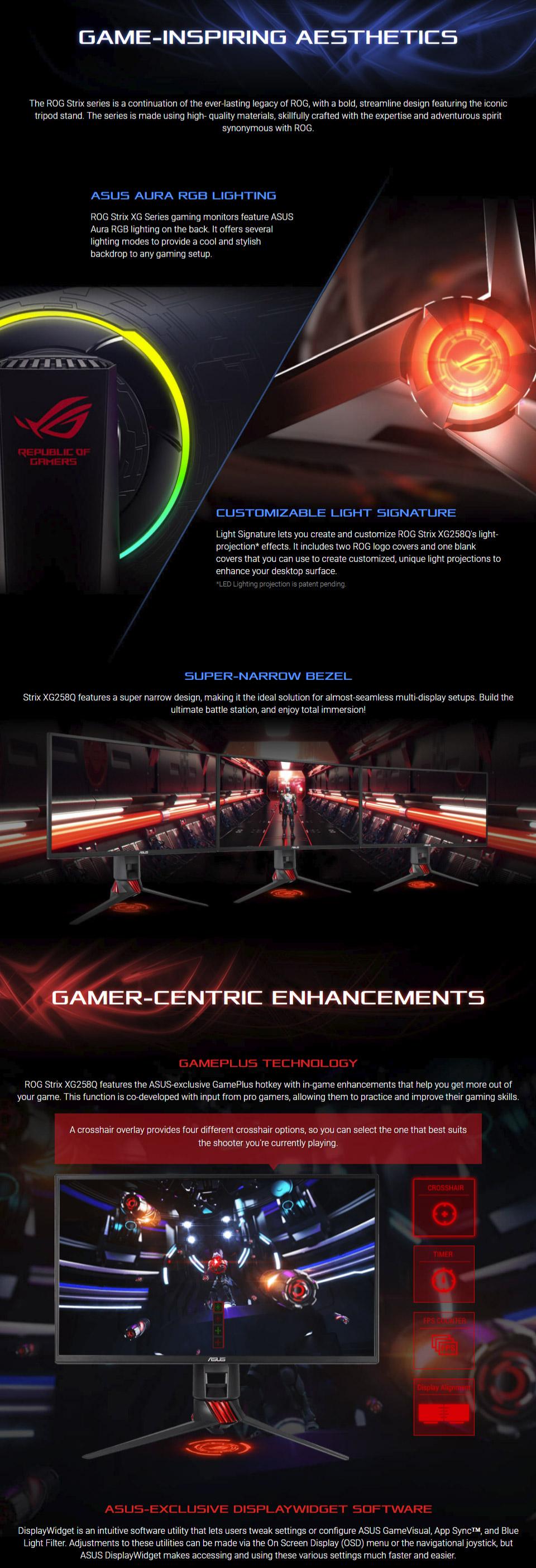 ASUS ROG XG258Q FHD FreeSync 240Hz 25in Monitor [XG258Q] : PC Case Gear