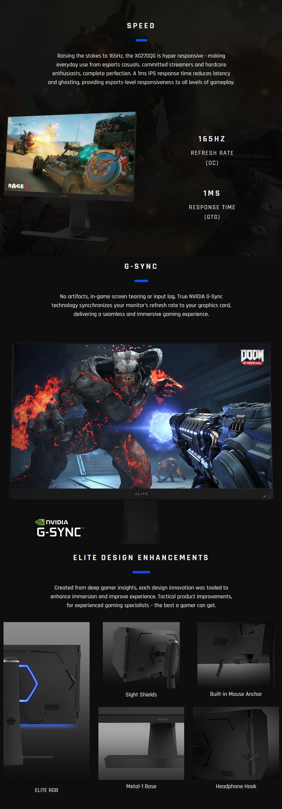 ViewSonic Elite XG270QG WQHD 165Hz G-Sync IPS 27in Monitor features 2