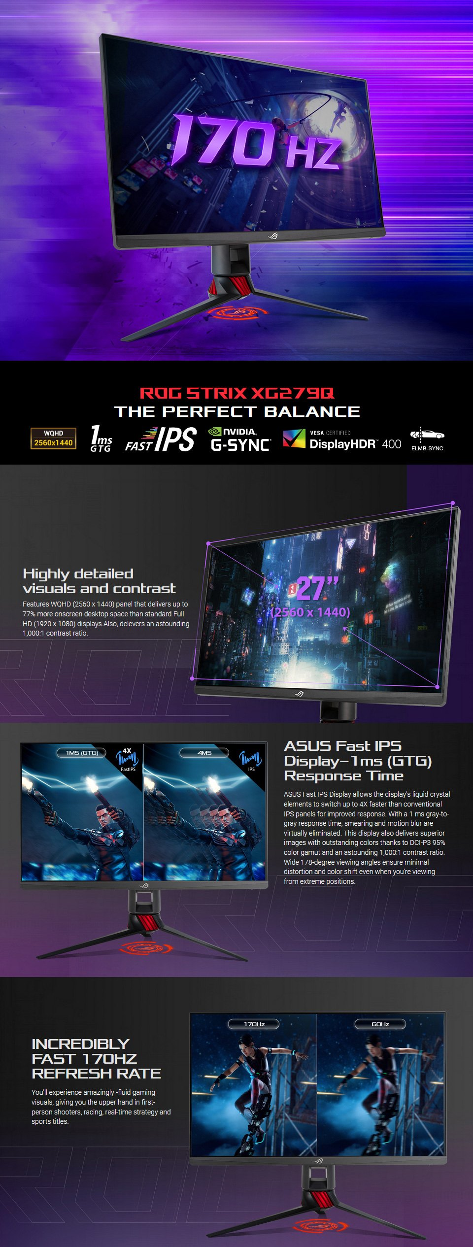 ASUS ROG XG279Q QHD 144hz+ FreeSync HDR 27in Monitor features
