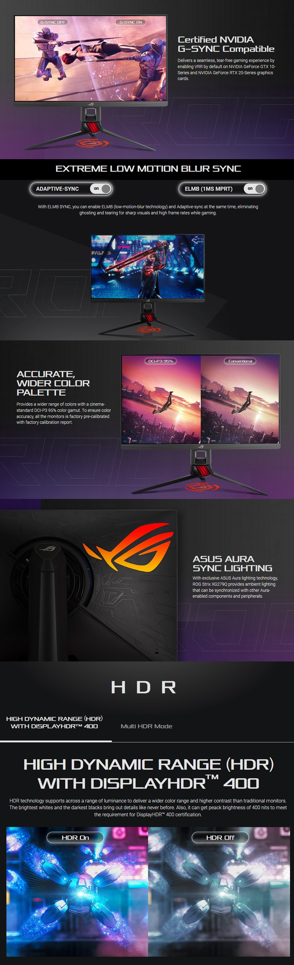 ASUS ROG XG279Q QHD 144hz+ FreeSync HDR 27in Monitor features 2