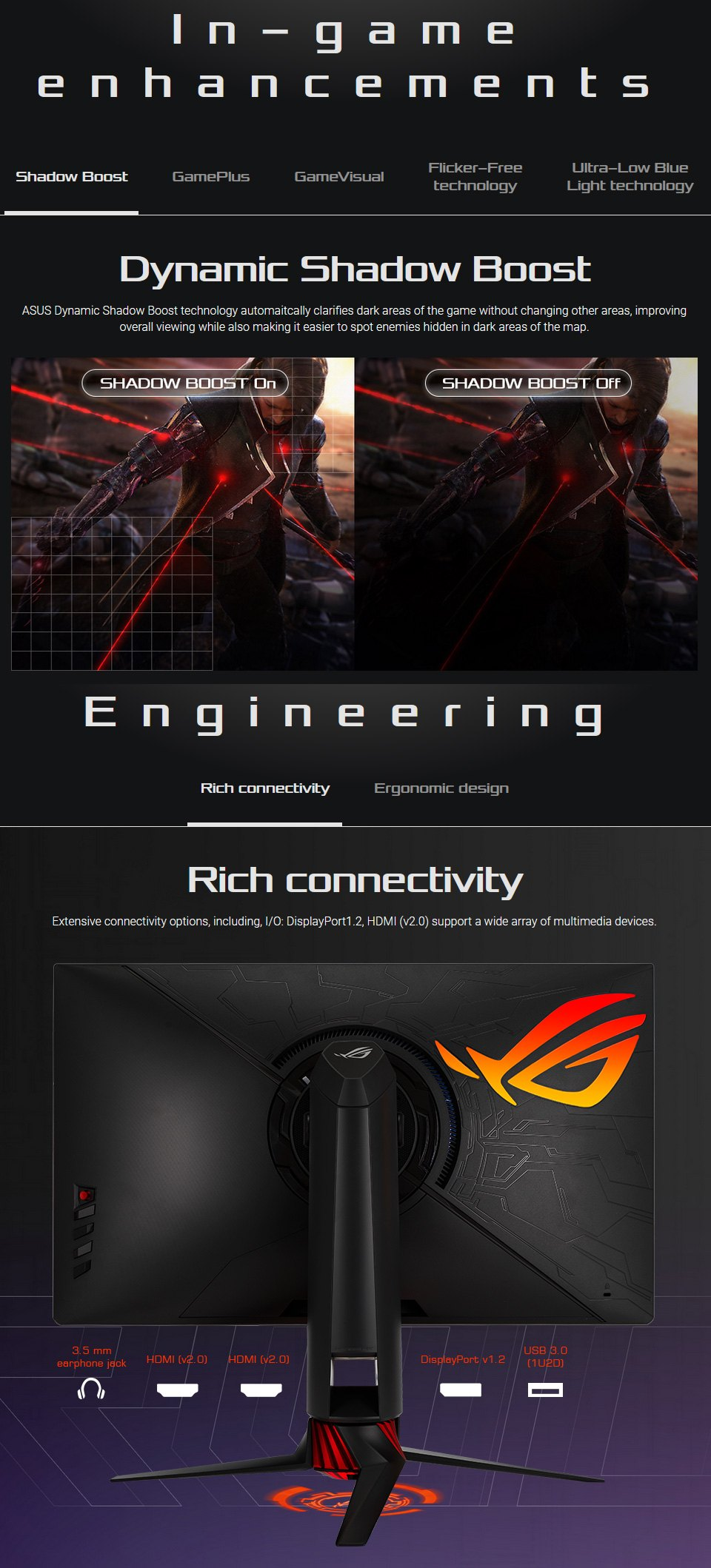 ASUS ROG XG279Q QHD 144hz+ FreeSync HDR 27in Monitor features 3