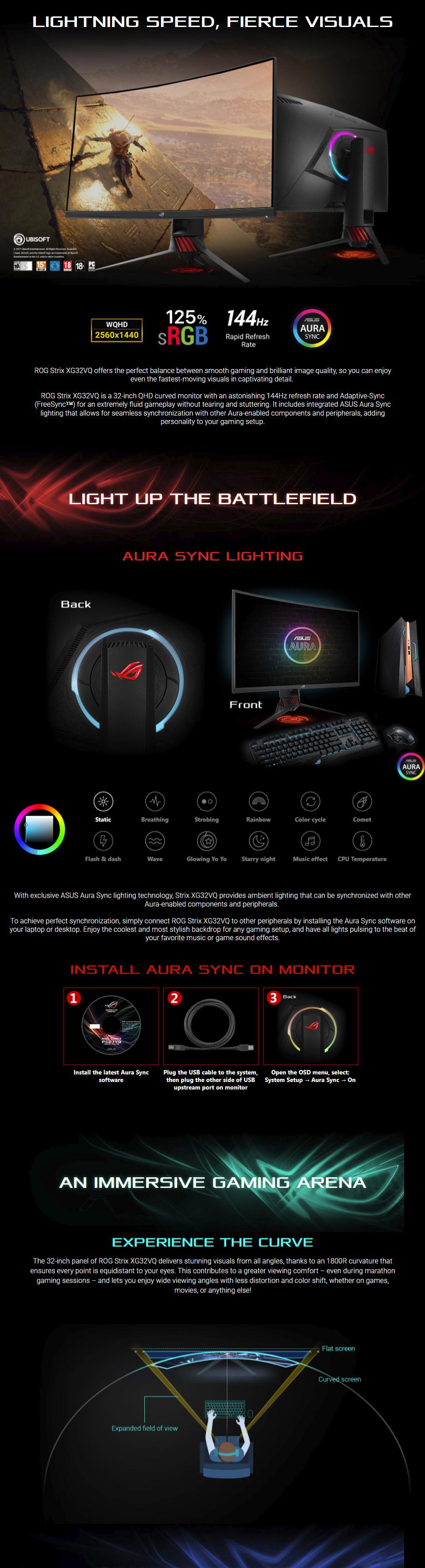 ASUS ROG Strix XG32VQ QHD 144Hz 32in Gaming Monitor (Ex-Demo) [EXD