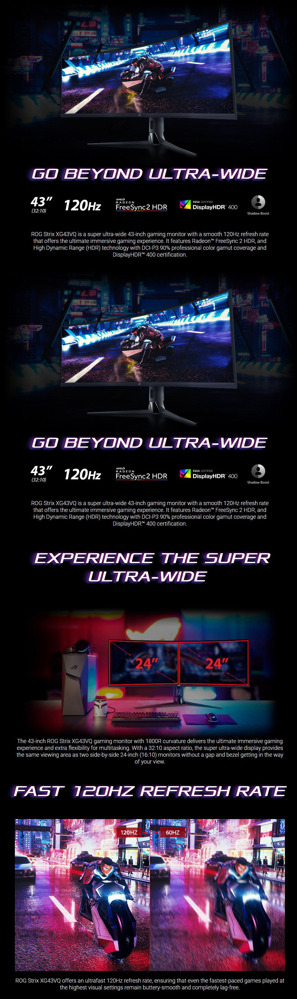 ASUS ROG XG43VQ DFHD+ S-UltraWide 120Hz FreeSync 43in Monitor features