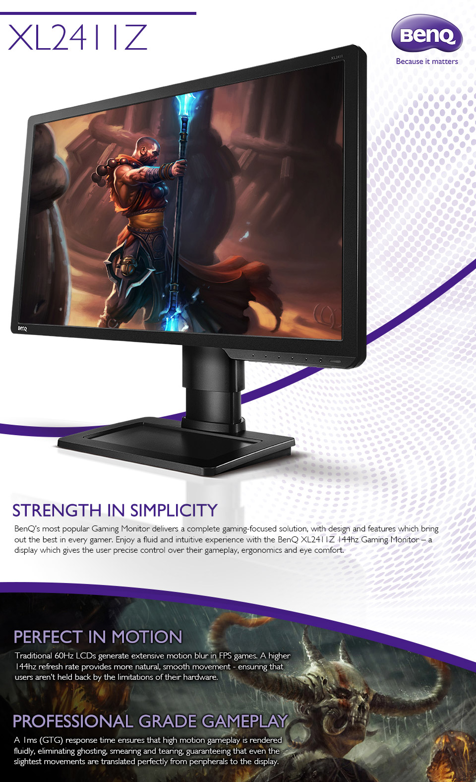 BenQ XL2411Z 24in LED 144Hz Gaming Monitor [XL2411Z] : PC