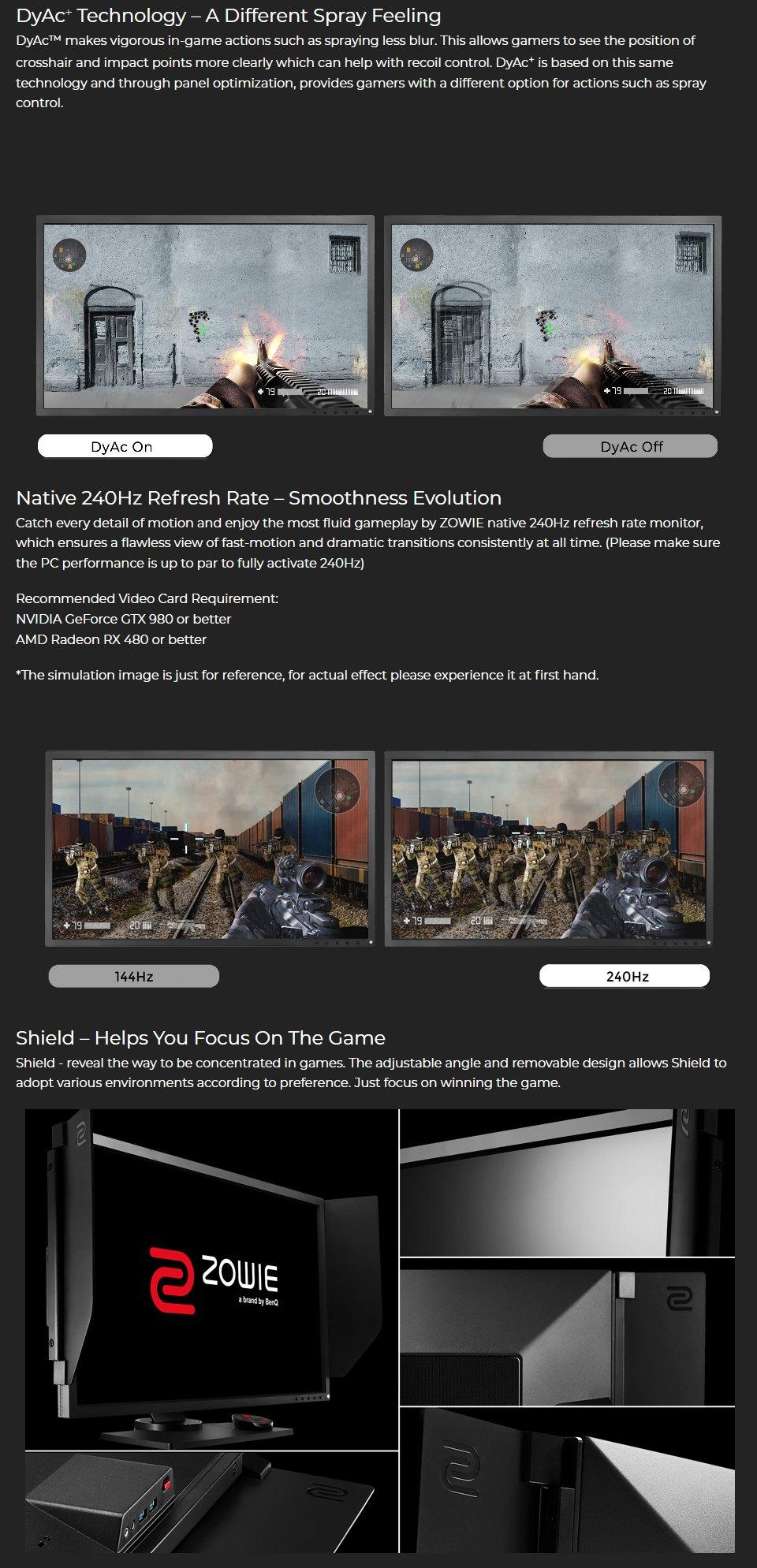 BenQ Zowie XL2746S FHD 240Hz DyAc+ 27in e-Sports Monitor features