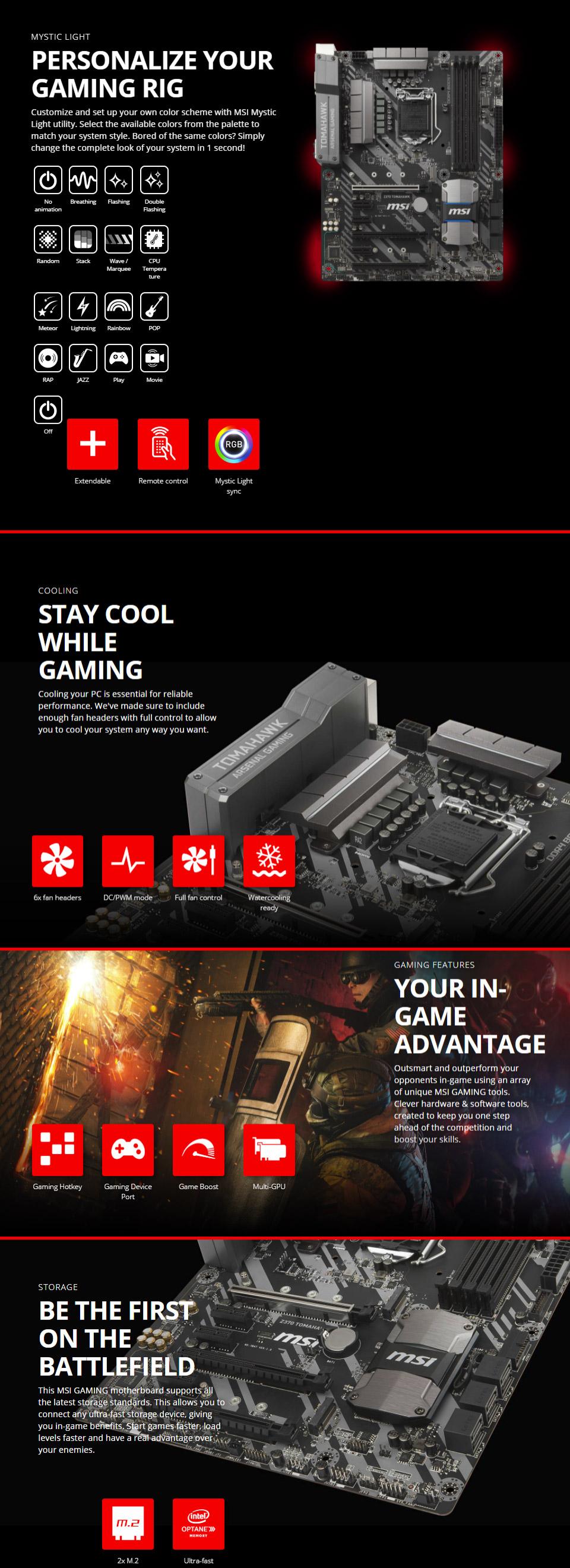 MSI Z370 Tomahawk Motherboard [Z370-TOMAHAWK] : PC Case Gear
