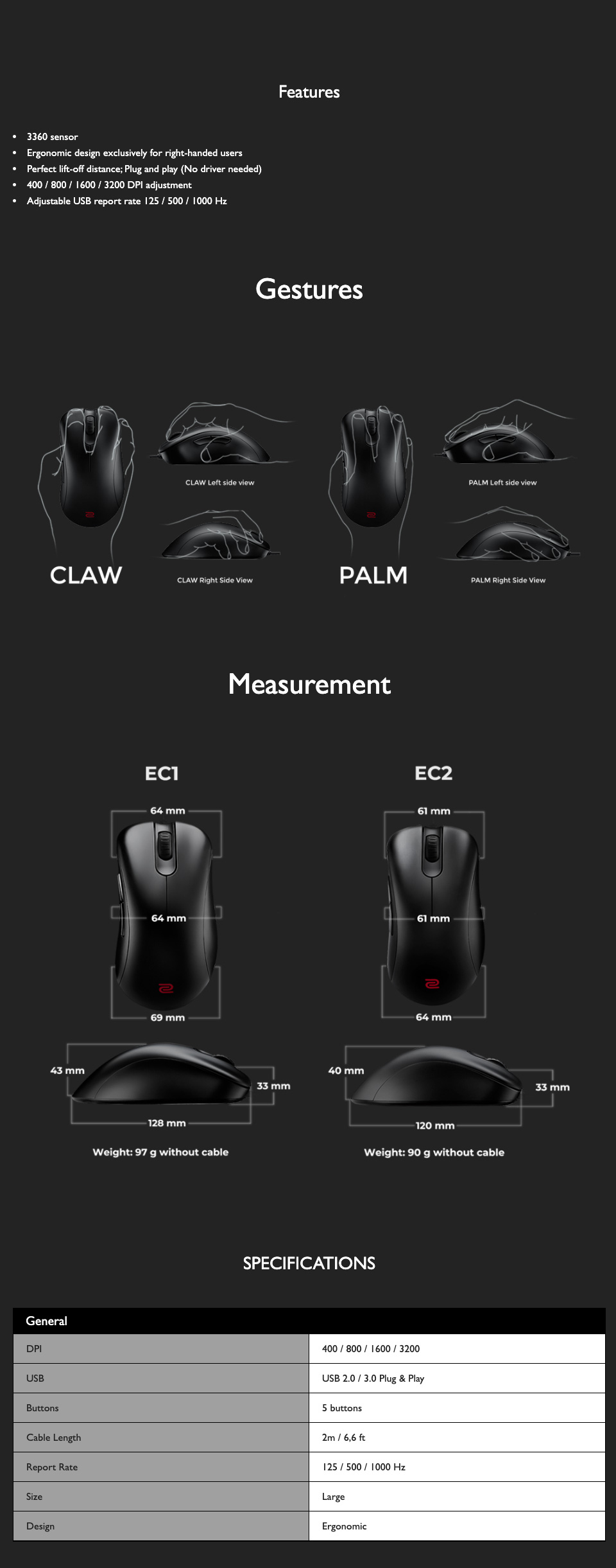 Zowie EC1 Gaming Mouse specifications