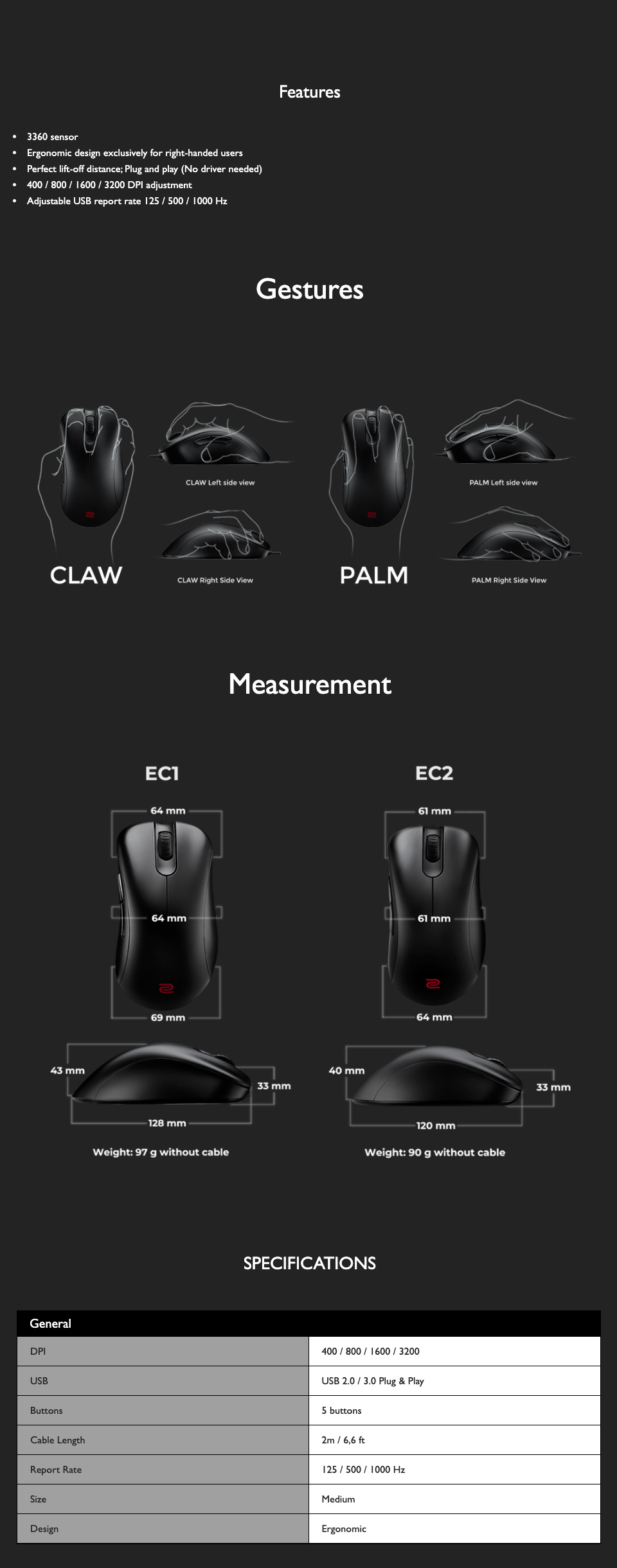 Zowie EC2 Gaming Mouse features